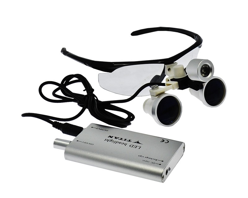 Lupas Cirúrgica Titan 2.5x420mm Head Lamp Led Optical Black