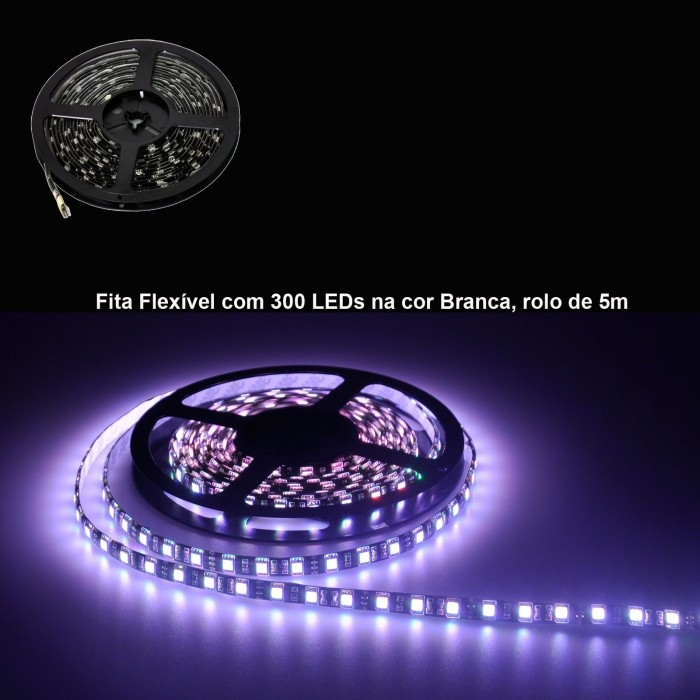 Fita Flexível com 300 LEDs na cor Branca, rolo de 5m