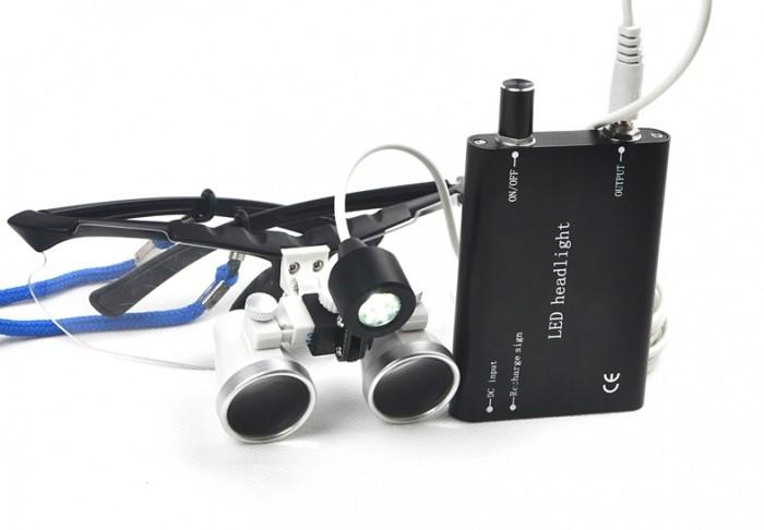Lupas Cirúrgica Titan 3.5x420mm Head Lamp Led Optical Black