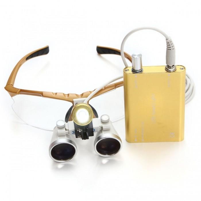 Lupas Cirúrgica Titan 2.5x420mm Head Lamp Led Optical Yellow