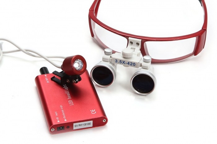 Lupas Cirúrgica Titan 2.5x420mm Head Lamp Led Optical Red