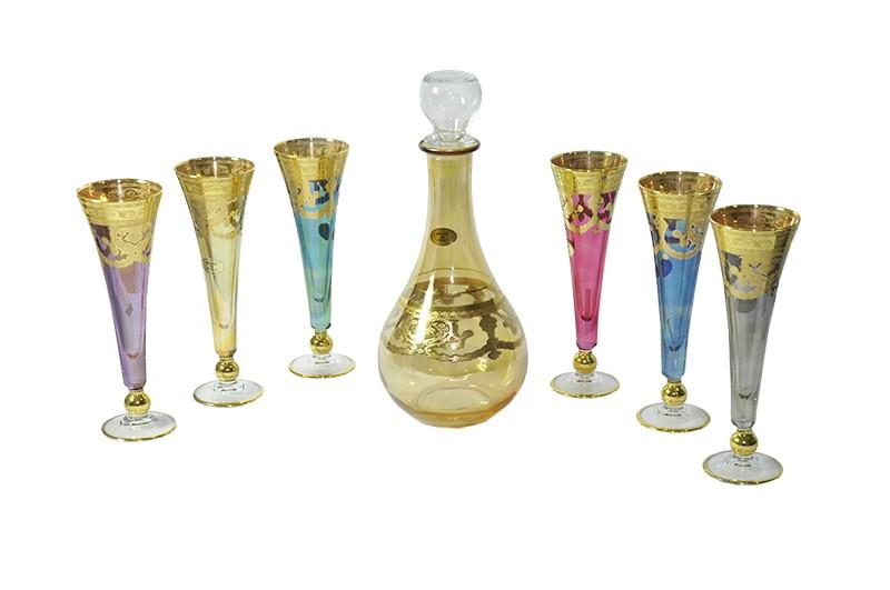 Conjunto Art Decor Royal Veneziano para Vinho 6 Taças + 1 Decanter