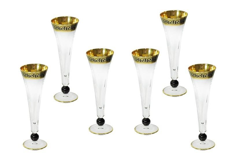 Conjunto Art Decor Flut Royal Versace Para Champagne 6 Taças