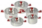 Conjunto de Panelas Ar-Yildiz Piramit 10 Peças Inox Vermelho